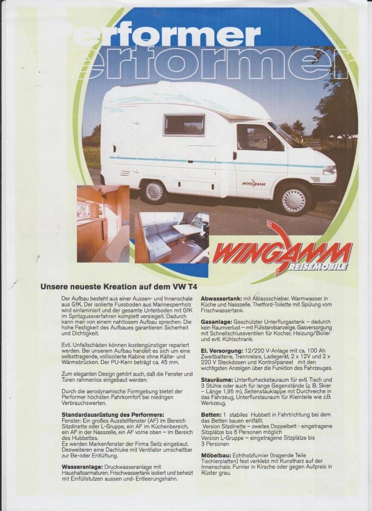 Wohnmobil: VW Wingamm Performer 510